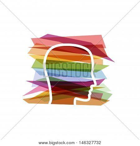 Vector concept of bureaucracy, head and strips