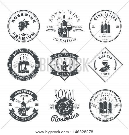 Wine club and restaurant emblems and labels set. Vector wine club logo EPS10