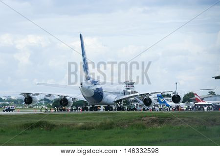 CHIANGMAI, THAILAND - SEPTEMBER 1 2007: F-WWJB Airbus A380-800 at Chiangmai Airport. Photo on trip Asia tour.