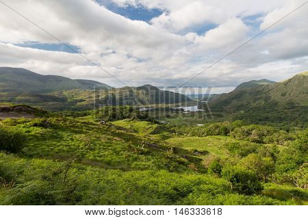 nature and landscape concept - view to Killarney National Park valley in ireland