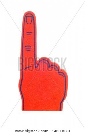 "Blank foam finger making the ""we're number 1 symbol"" in red and blue, add text to the hand or above hand, - lots of copy space"