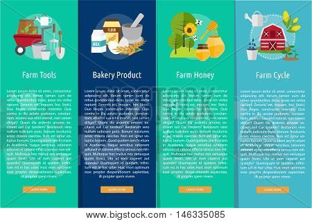 Farm and Ranch Conceptual Design | Set of great vertical banner flat design illustration concepts for Farm, Ranch, harvest, agriculture and much more.
