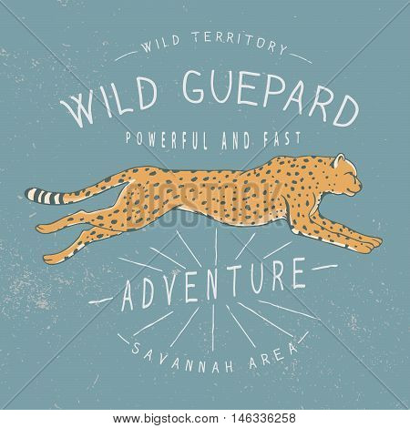 Old label with running guepard.Print design for t-shirts.Vector illustration