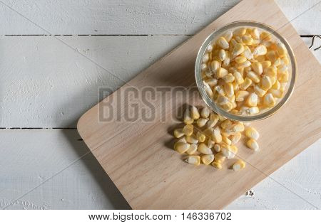 Corn on a white background raw food