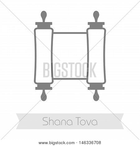 Torah scroll. Rosh Hashanah icon. Shana tova. Happy and sweet new year in Hebrew
