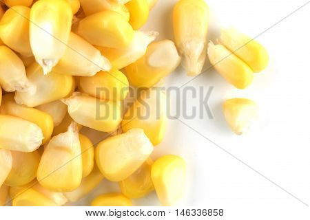 Corn isolated on a white background raw food