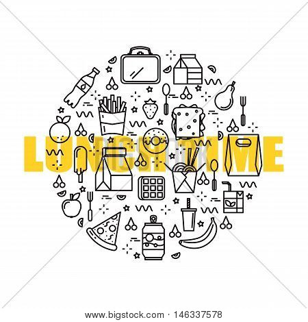 Conceptual illustration of healthy lunches made in flat and line style vector. Lots of icons. Place for your text. Lunch time design, website elements layout.