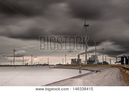 Dark Industrial Harbor Landscape