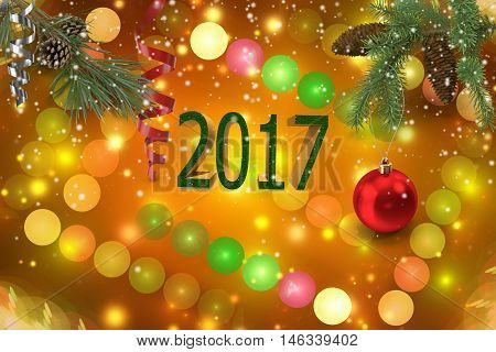 On a beautiful background with colorful balls and lights pine branches with pine cones Christmas decorations and the inscription : 20173D visualisation;