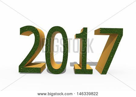 On white background the numbers 2017 in a 3D format signifying the coming New year .
