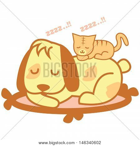 Cat and dog sleep of vector art illustration
