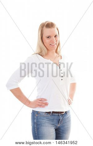 Attractive young woman. All on white background