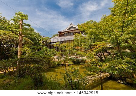 MATSUYAMA JAPAN - JULY 22 2016: Garden of Taihoji Temple in Matsuyama Ehime Prefecture Japan. Taihoji is No 44 of Pilgrimage to the 88 Sacred Temples of Shikoku