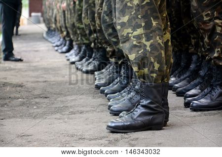 soldiers boots in army ready to fight