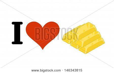 I Love Gold. Heart And Bullion. Logo For Gold Rush. Logo For Wealth Lovers