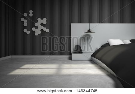 monotone bedroom design with 3d wall. 3d rendering