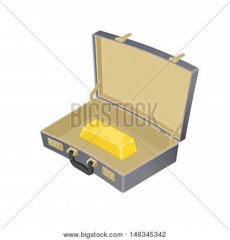 Suitcase With Gold. Case With Golden Bullion. Suitcase Wealth