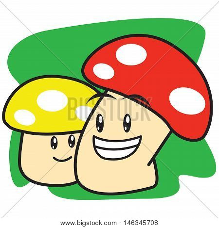Two mushroom of vector art illustration Tshirt design