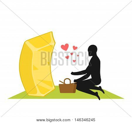 Lover Gold. Golds Bullion On Picnic. Rendezvous In Park. Meal In Nature. Plaid And Basket For Food O