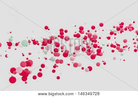 Abstract pink background modern shape object float in the airblowing particle 3d rendering
