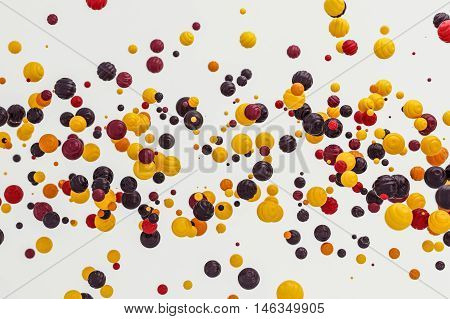 Abstract orange berry background modern shape object float in the airblowing particle 3d rendering