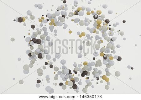 Abstract pastel background modern shape object float in the airblowing particle circle round shape 3d rendering