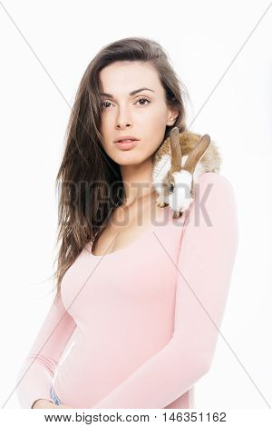 Pretty Woman With Rabbit Isolated