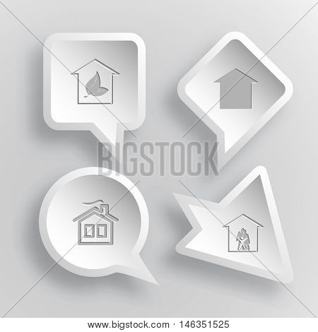 4 images: hothouse, home, family. Home set. Paper stickers. Vector illustration icons.