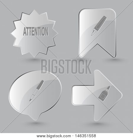 4 images: attention, felt pen, ink pen, glue bottle. Education set. Glass buttons on gray background. Vector icons.