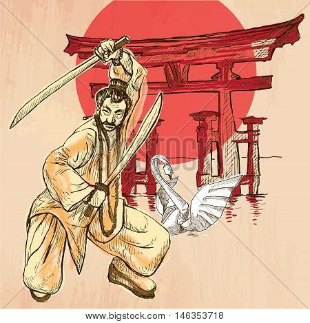An Japan warrior with the swords Shinto sign and white paper origami swan. Freehand sketching line drawing. An hand drawn vector illustration. Colored line art technique.