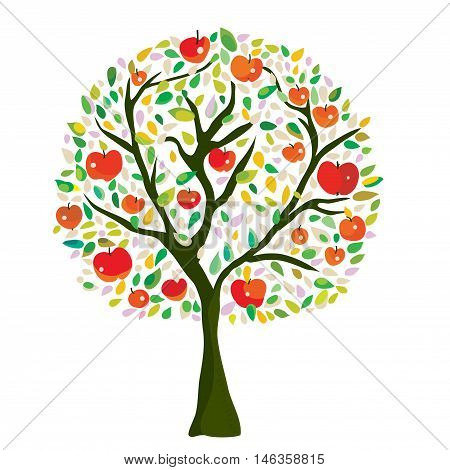 Apple tree at the autumn vector graphic illustration in decorative style