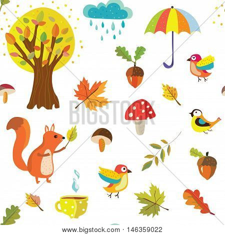 Autumnal seamless pattern with nature elements and cartoon objects - vector graphic illustration