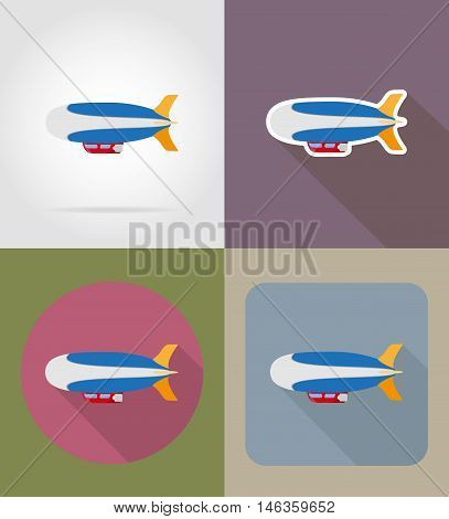 zeppelin flat icons vector illustration isolated on background