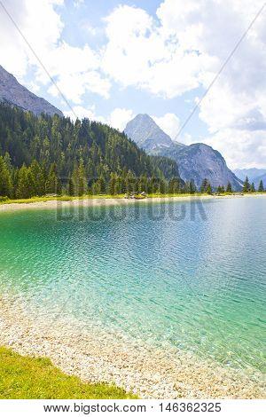 View at Ehrwalder Almsee with mountain landscape Tirol Austria