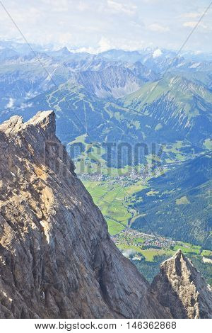 View from mountain Zugspitze Tirol at village of Ehrwald Austria