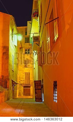 The old town is full of narrow backstreets and deadlocks keeping Ajaccio's secrets Corsica France.