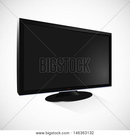 Black lcd tv vector isolated on white background