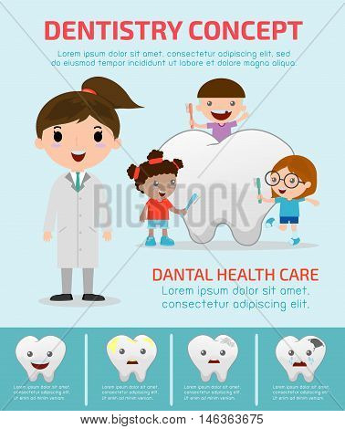 Stock Vector Illustration: Dentistry concept with dental health care, Dentist infographics, vector flat modern icons design illustration