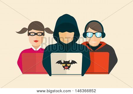 Hacker, fraud and coder. Computer security Vector illustration