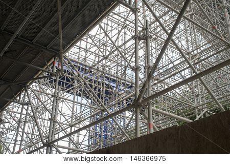enormous scaffolding for renovation of a bridge