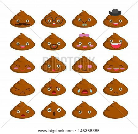 Cute set of cut poop emoticon smileys isolated on white background. flat icons. turd poop cartoon Vector Illustration