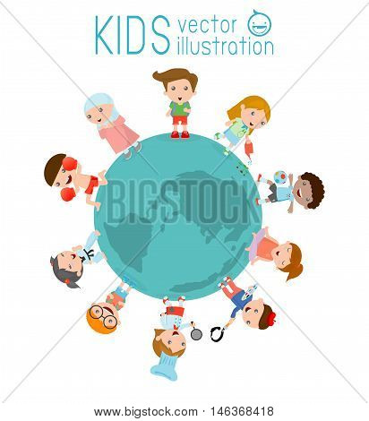 kids around the globe on a white background, vector illustration of kids around earth, kids friends from around the world,Multinational friendship of children from around the world