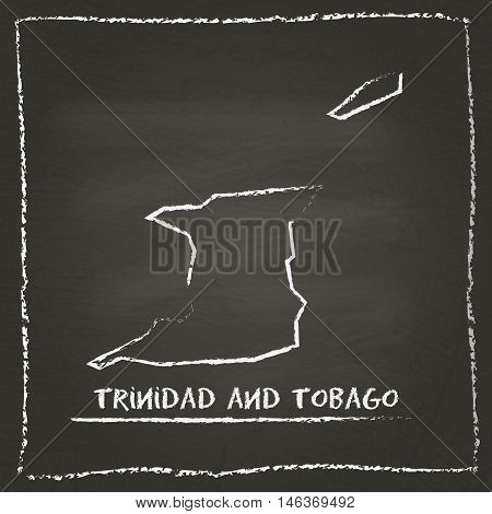Trinidad And Tobago Outline Vector Map Hand Drawn With Chalk On A Blackboard. Chalkboard Scribble In