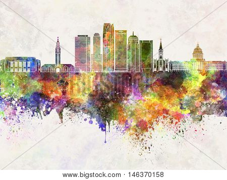 Oklahoma City skyline artistic abstrac in watercolor background