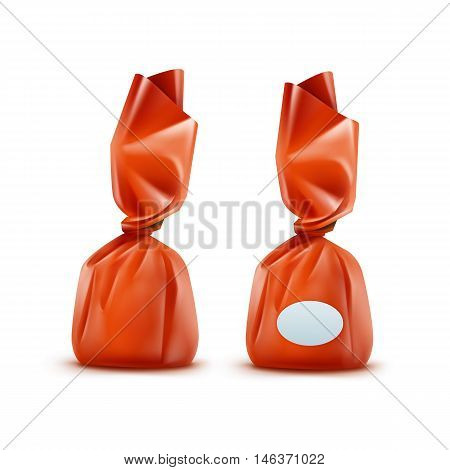 Vector Realistic Chocolate Candy in Orange Glossy Wrapper Close up Isolated on White Background