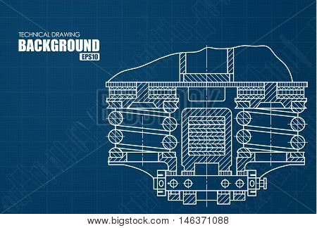 Background With The Technical Drawings Of Parts