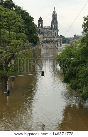 flood in Dresden 2013 Embankment of the Elbe river in Dresden Germany