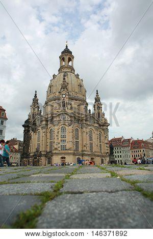 The a Church Frauenkirche in Dresden Germany