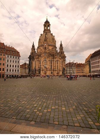 The a Church Frauenkirche in Dresden Germany near sunset