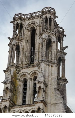 Laon Cathedral is one of the most important examples of the Gothic architecture of the 12th and 13th centuries located in Laon Picardy France. Tower